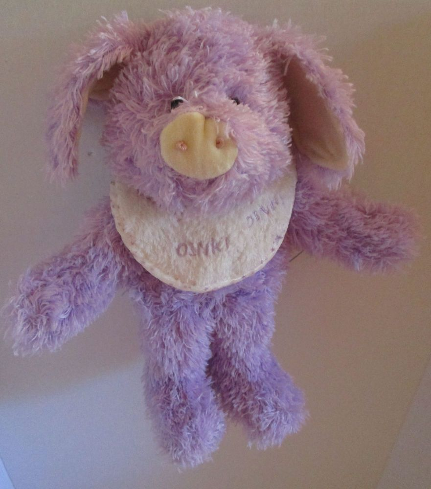 Boyds Purple Lavender Plush Pig Stuffed Baby Rattle Piggles Huggle