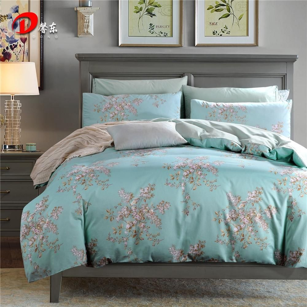 Luxury Satin Bed Linen Egyptian Cotton Bedding Set King Queen Size High  Quality Pink Floral Bed Set Blue Duvet Cover Set Z8