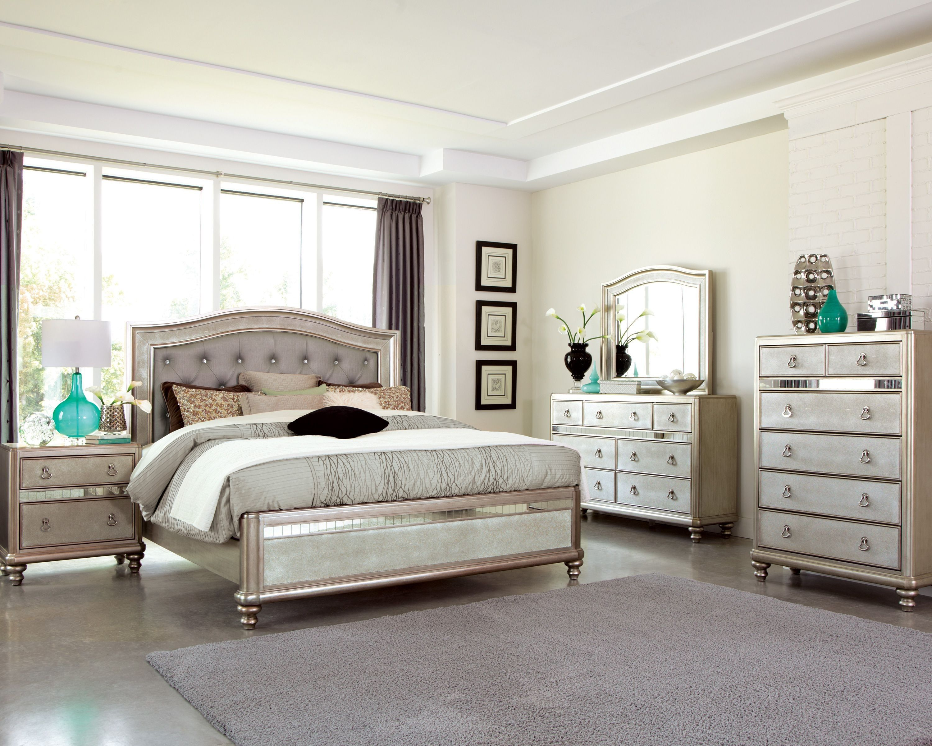 Bling Game Metallic Platinum Panel Bedroom Set | bedrooms | Pinterest