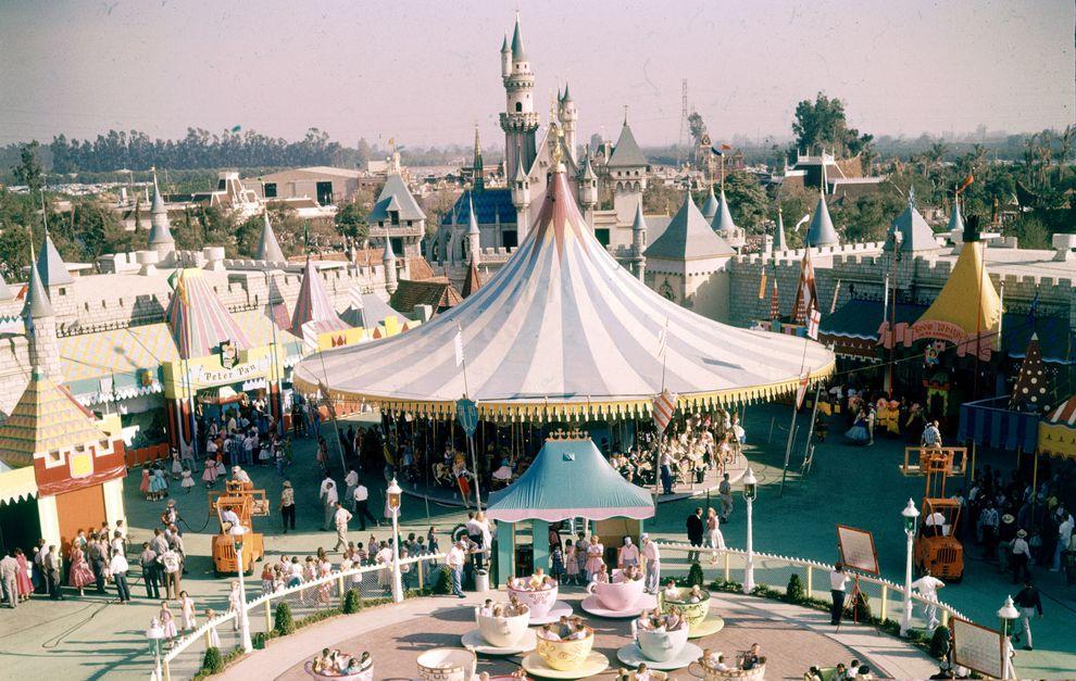 An Aerial Shot Of Fantasyland Wonderful And Rare Color - 18 amazing rare colour photos disneyland 1955