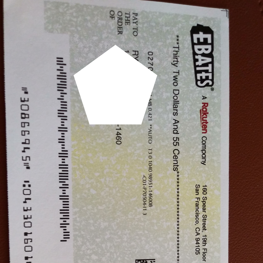 This Is My Actual Ebates Check From Last Week. For A