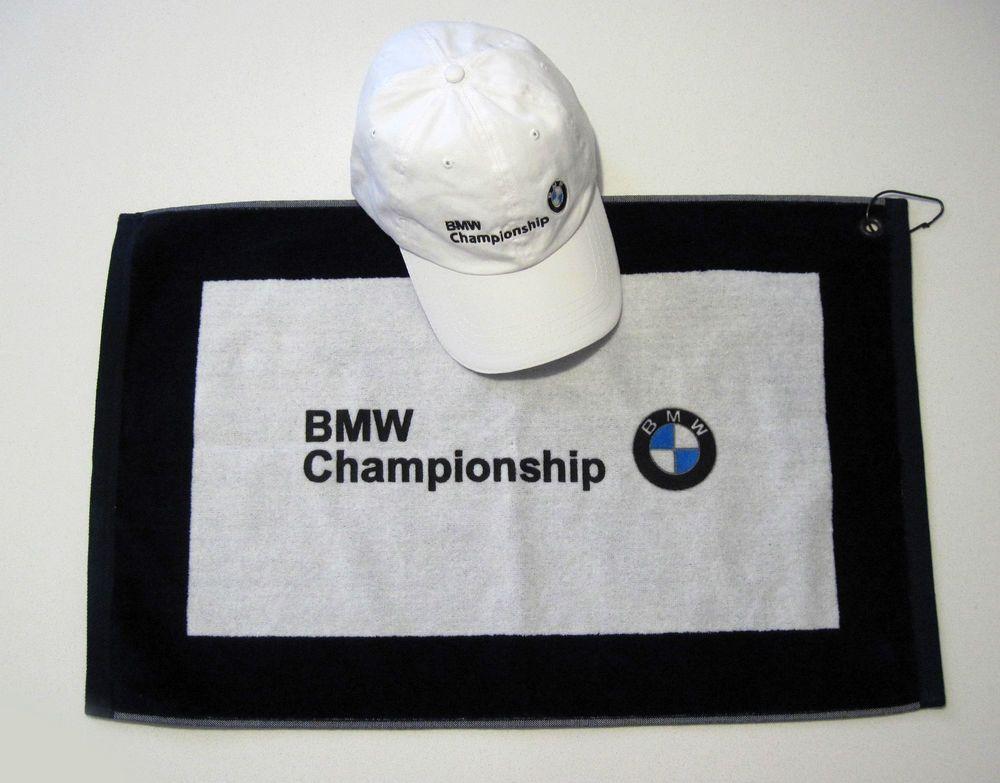 Bmw Championship Golf Cap Embroidered Logo Plus Bag Towel White Blue Both Nwot Toalhas Bordadas Bmw Toalhas