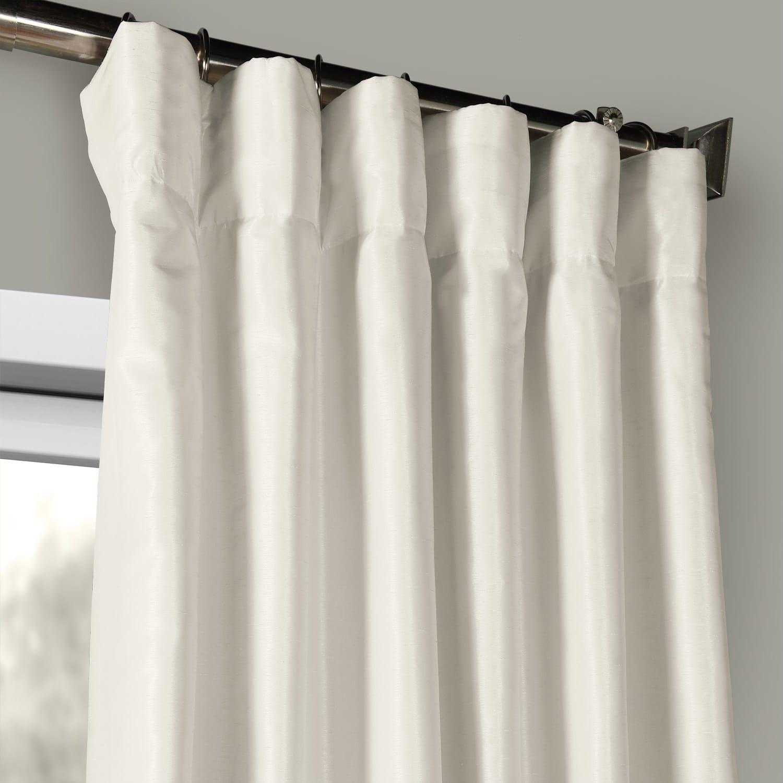 Off White Vintage Textured Faux Dupioni Silk Curtain Panel
