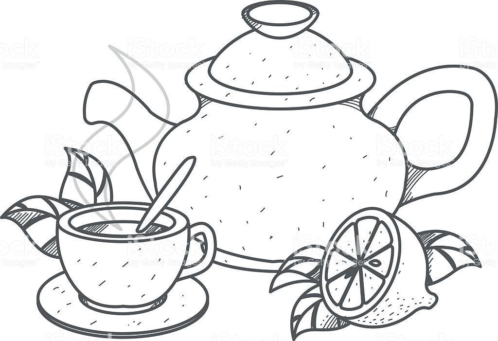 Tetera Taza De Te Con Limon Resumen Dibujo Ilustracion De Tetera Taza De Te Con Limon Resumen Dibujo Y Mas Vectore Taza Dibujo Teteras Dibujo Dibujos En Tela