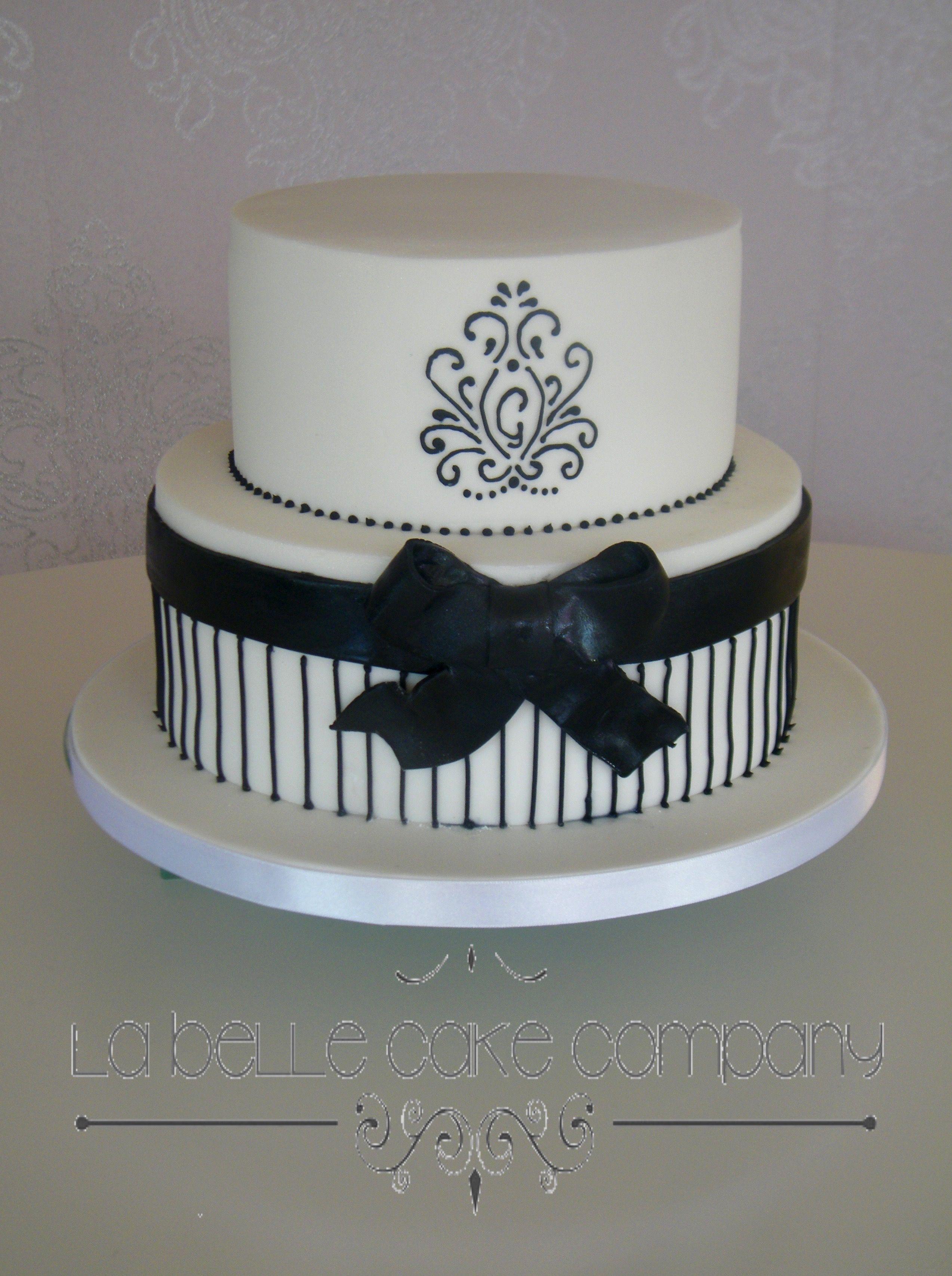 Black And White Monochrome Birthday Celebration Cake By La Belle