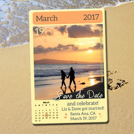 Calendar save the date with a beach frame. Beach