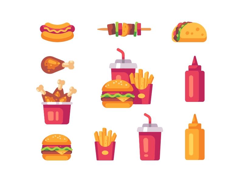 Fast Food Icons Food Icons Food Illustration Design Restaurant Icon