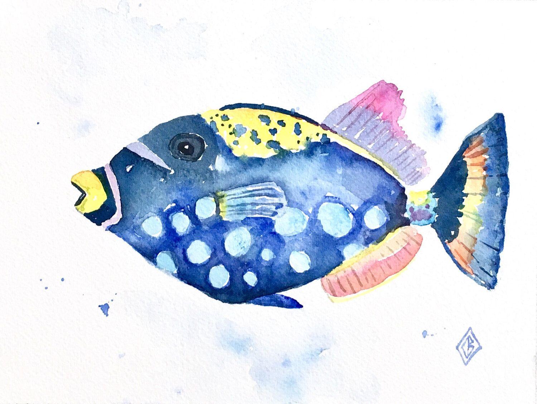 clown triggerfish 6x8 original watercolor painting sea life
