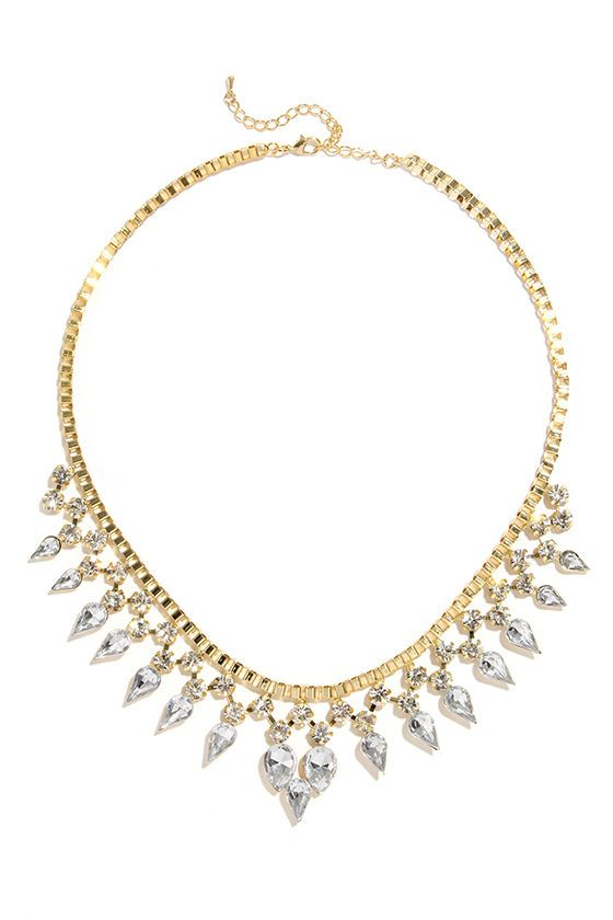 Starry Eyed Gold Rhinestone Statement Necklace at Lulus.com!