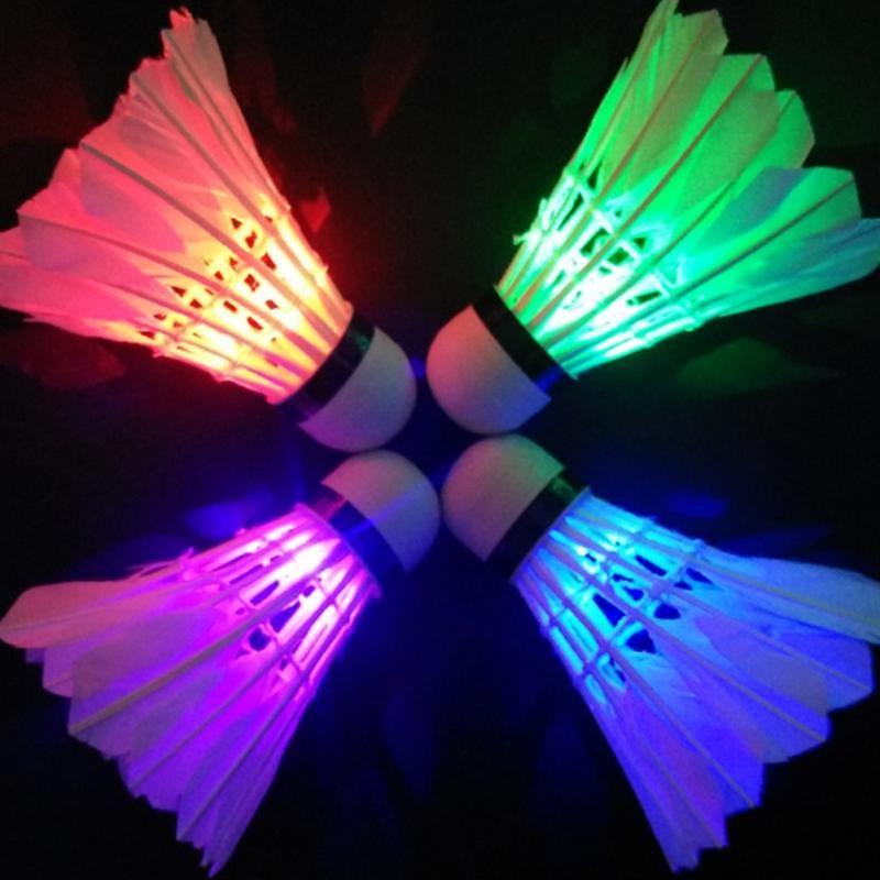Hot Dark Night Colorful Glowing LED Badminton Shuttlecock Birdies Lighting Ne w