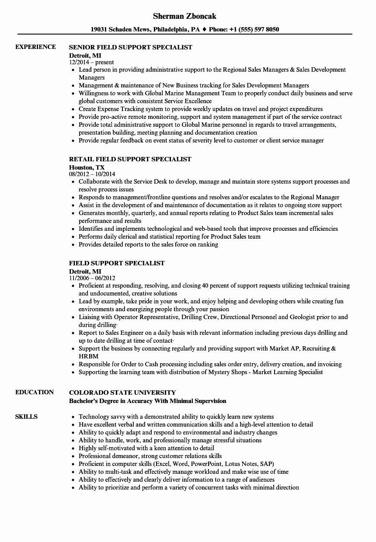 Customer Support Specialist Resume Beautiful Field Support Specialist Resume Samples Resume Examples Mechanical Engineer Resume Engineering Resume