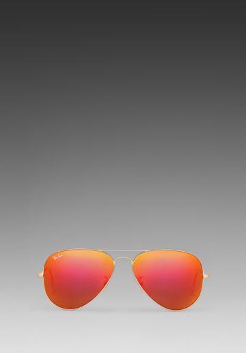 1079e2bdb0b Ray-Ban Large Metal Flash Lense Aviator in Matte Gold Crystal Orange Mirror