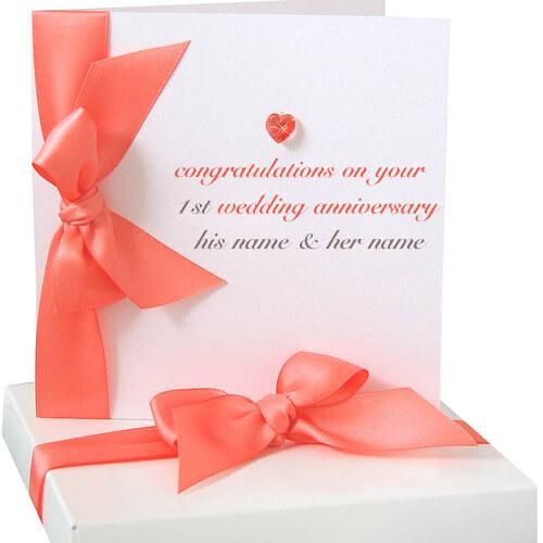 write name on 1st wedding anniversary greeting cards and