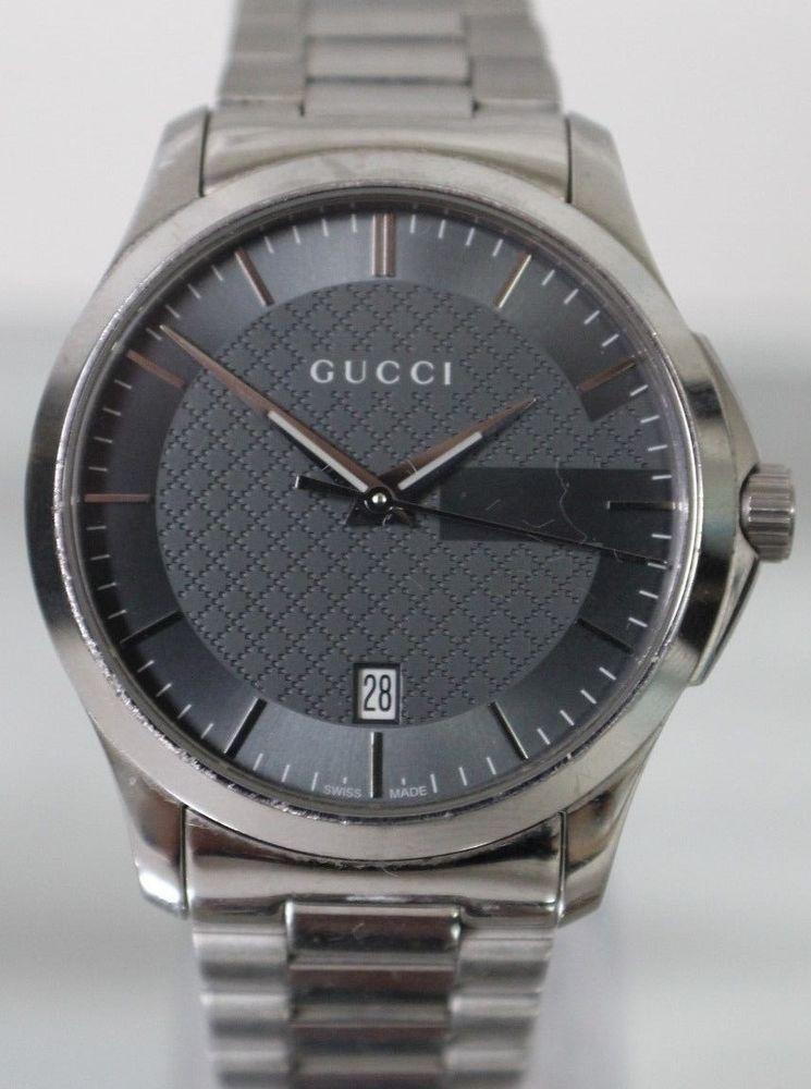d40bab91252 Men s Gucci Timeless 126.4 Stainless Steel Watch Black Face 38mm Swiss  Quartz