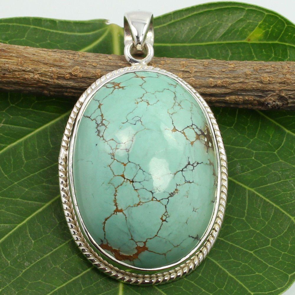 Natural TIBETAN TURQUOISE Gemstone Vintage Jewellery Pendant 925 Sterling Silver #SunriseJewellers #Pendant