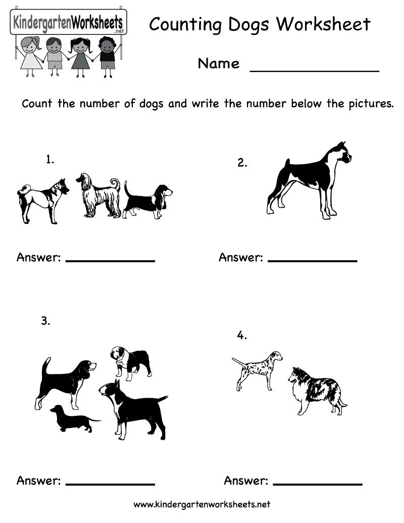 Kindergarten Counting Dogs Worksheet Printable – Free Printable Counting Worksheets for Kindergarten