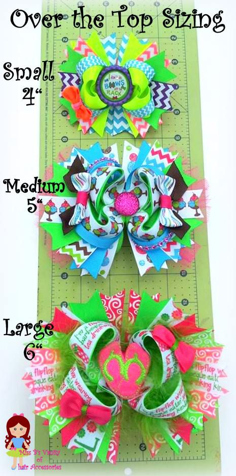 Bows Over the Top OTT Sizing Chart for Miss B's Bowtique www.facebook.com/missbsbowtique05