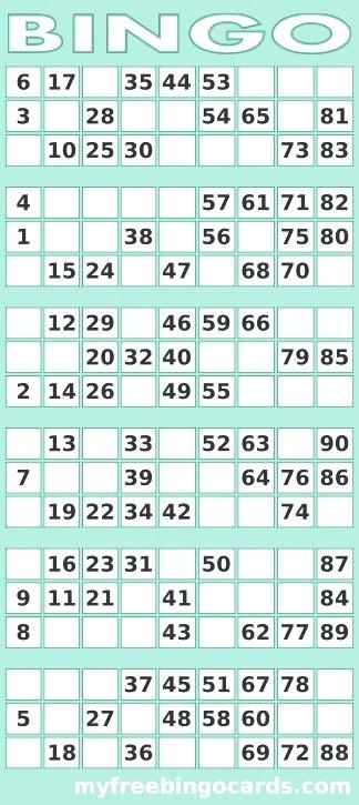 image relating to Printable Bingo Cards 1-75 titled Printable 1 90 Selection Bingo Card Generator