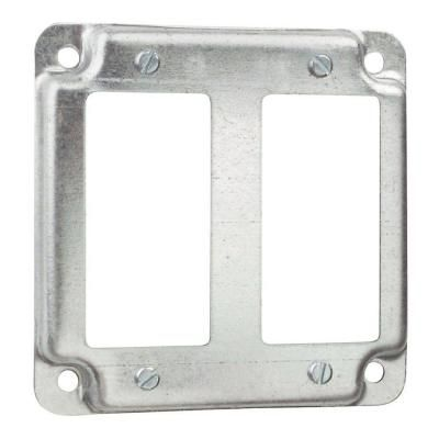 Steel City 2 Gang 4 In Square Metal Electrical Box Cover For 2 Gfci Receptacles Case Of 10 Metal Electrical Box Covered Boxes Steel