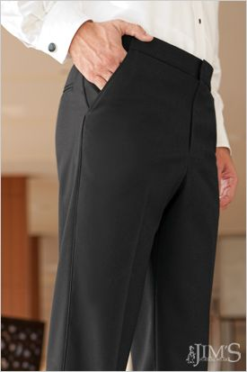 Flat-front pants are more sliming than their pleated counterpart-less fabric means a flatter midsection. #TuxTuesday