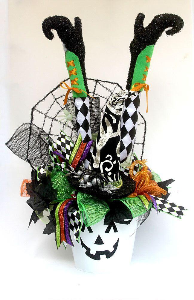 witch legs centerpiece halloween witch dcor halloween party table arrangement witch dcor - Witch Decorations