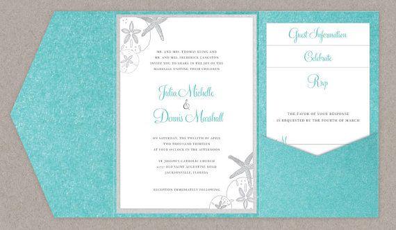 Printable Beach Wedding Invitations: DIY Custom Wedding Invitation Suite