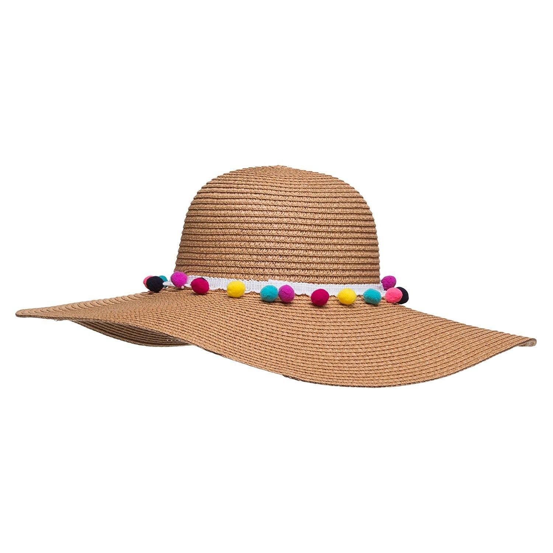 5c15a19f6ef Pom Pom Multi-Color Floppy Sun Straw Beach Hat - Beige - CI182KAA7T7 ...