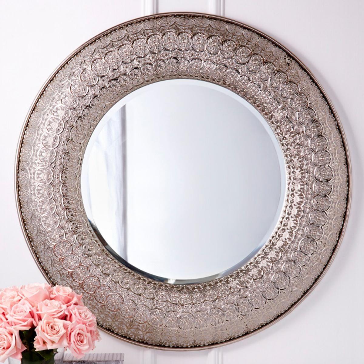 Silver Filigree Round Wall Mirror Shades Of Light Mirror Wall Mirror Wall Decor Round Wall Mirror
