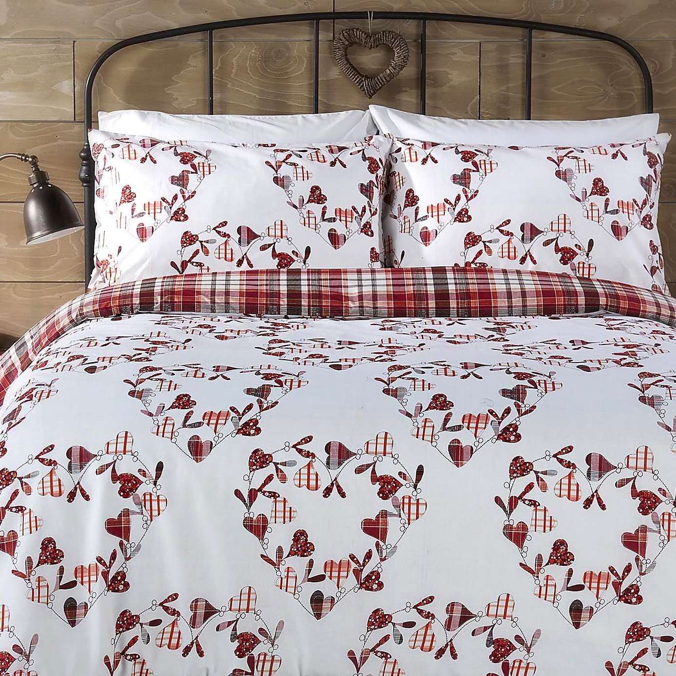 Christmas Checked Hearts Duvet Cover Set