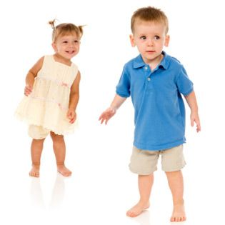 Advice on dressing toddlers. Most useful perhaps is this: Swimsuits typically run small, so you'll almost always need to buy one size up from what your tot usually wears. (If you buy a bigger size in a one piece for a little girl, you may need to fasten the straps together in the back to keep them from slipping down her shoulders.)