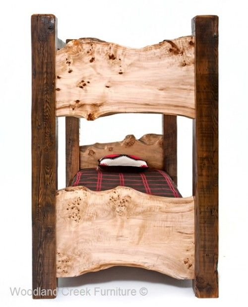 Old Wooden Bunk Bed With Natural Wood Slabs Bedroom Closet
