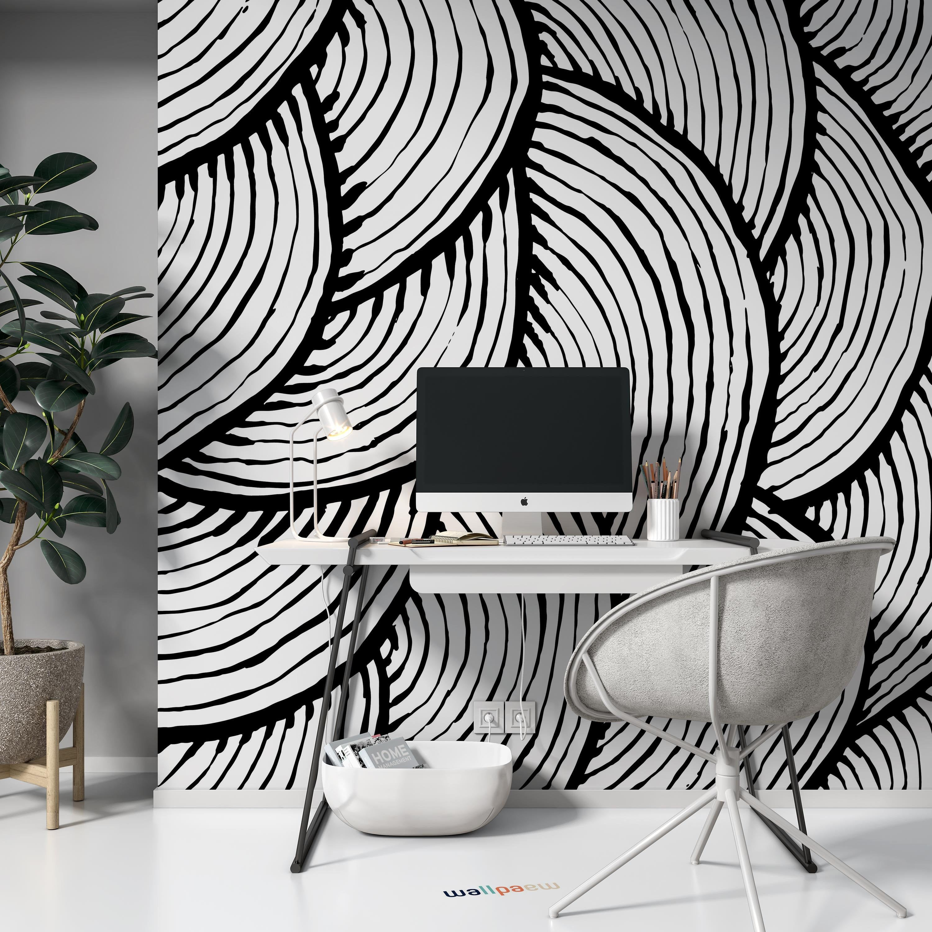 Brush Stroke Pattern Black And White Watercolor Abstract Etsy In 2021 Black Accent Wall Living Room Accent Walls In Living Room Black Wall Decor