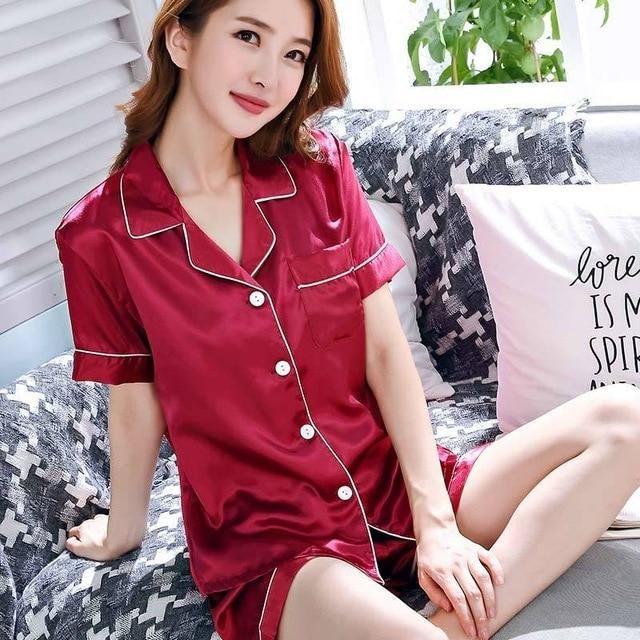 ea5d4ea132 Summer Women Short Silk Pajama Sets Solid Satin Pyjamas Sexy Sleepwear Two  Piece Set Female Homewear Silk Pyjamas Loungewear XXL