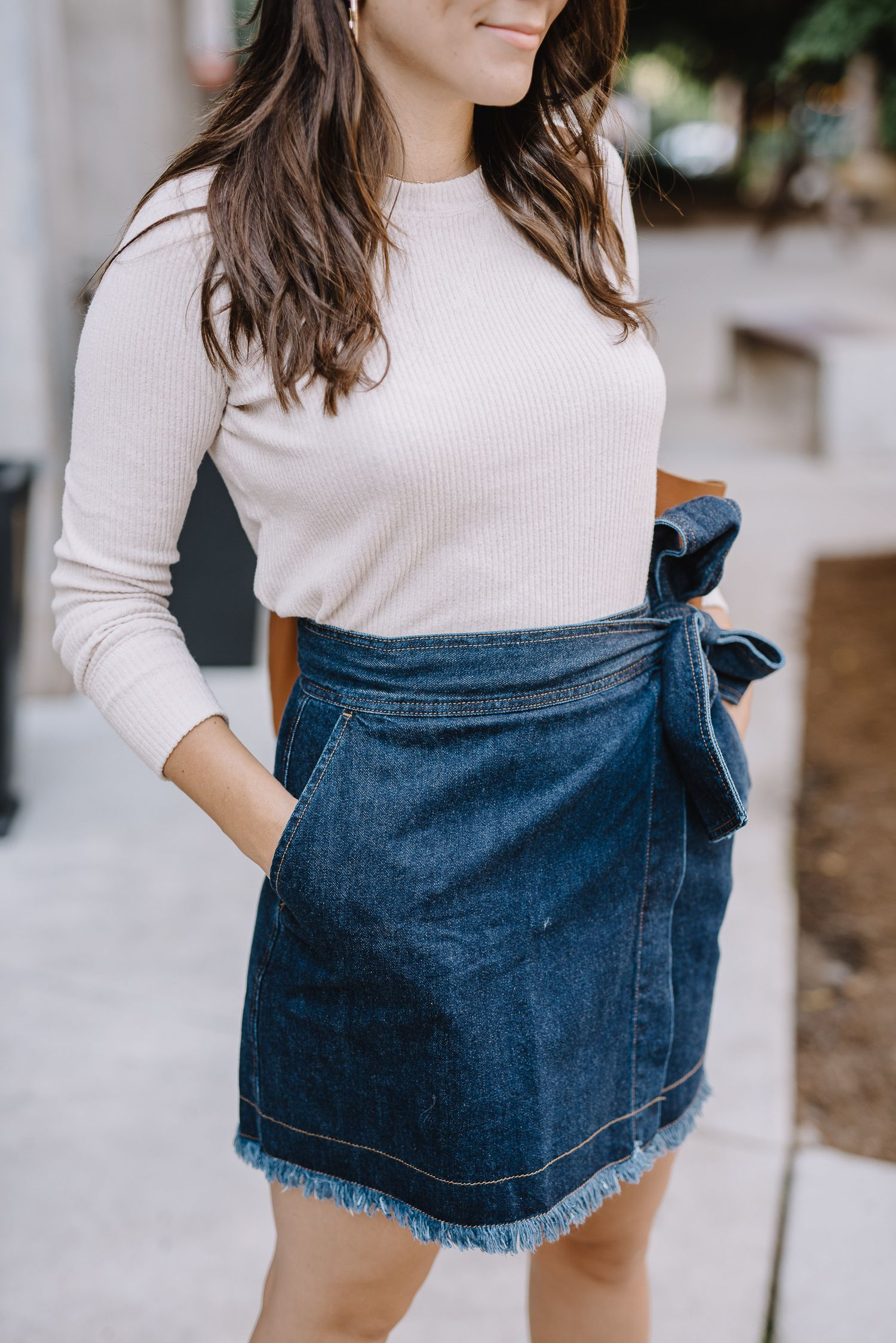 4b1317f18 A Wrap Denim Mini Skirt Styled For Summer And Fall | How to Transition Your Denim  Skirt into Fall