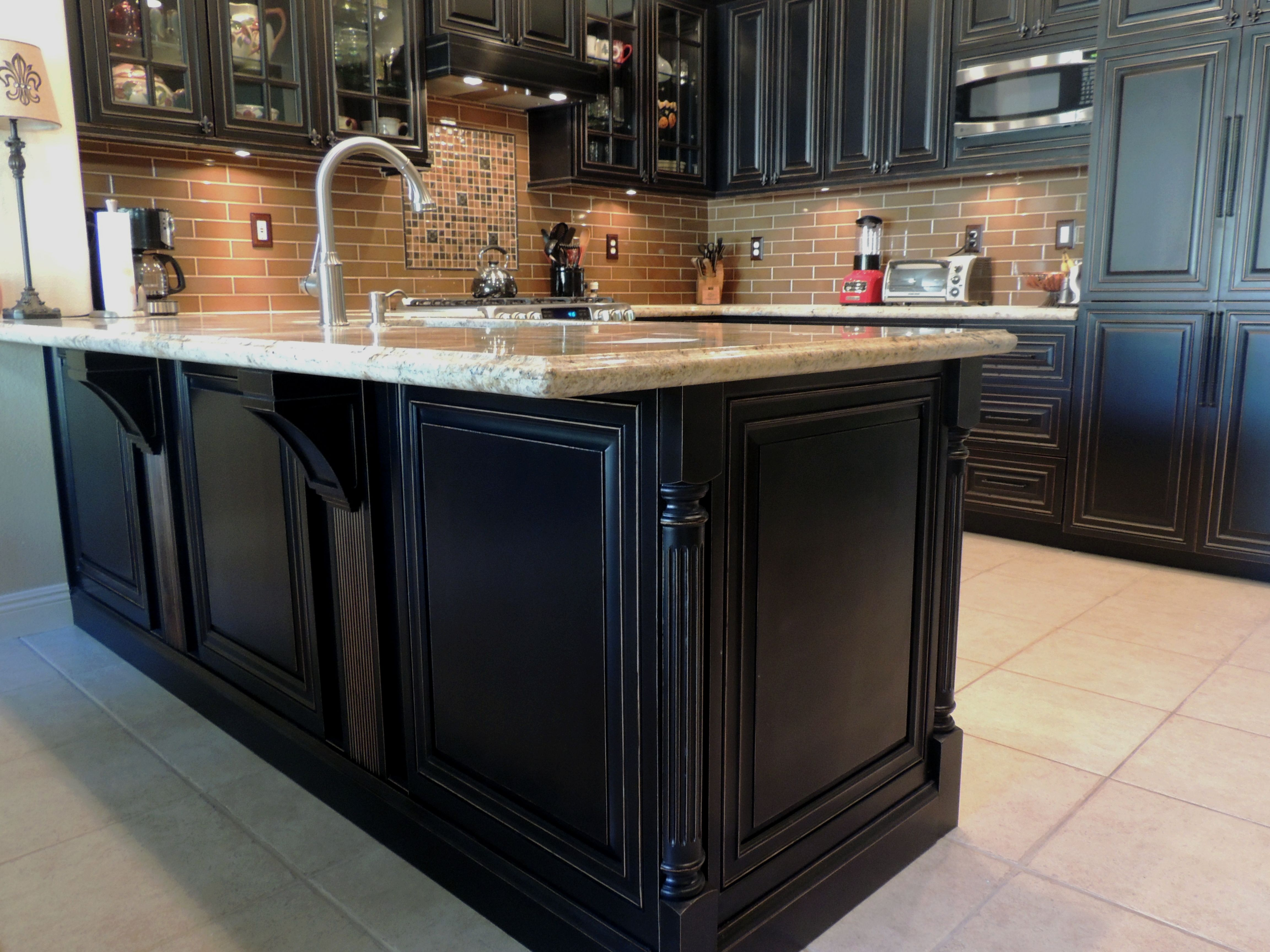 Close Up Look At Finished O Neil Vintage Peninsula The Corbels Add A Nice Touch Kitchen Cabinets Black Vintage Peninsul Home Remodeling House Cabinetry