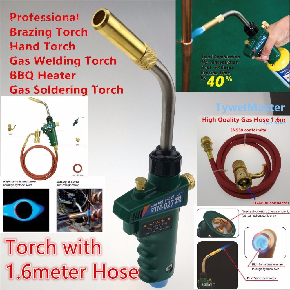 Self Ignition Braze Welding Torch 1 5m Hose Cga600 Connection Suitable For Propane Mapp Catridge Cylinder Gas Welding Torch Heat Tools Welding Torch Weldi