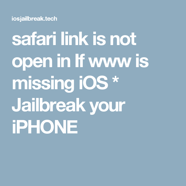 safari link is not open in If www is missing iOS Not