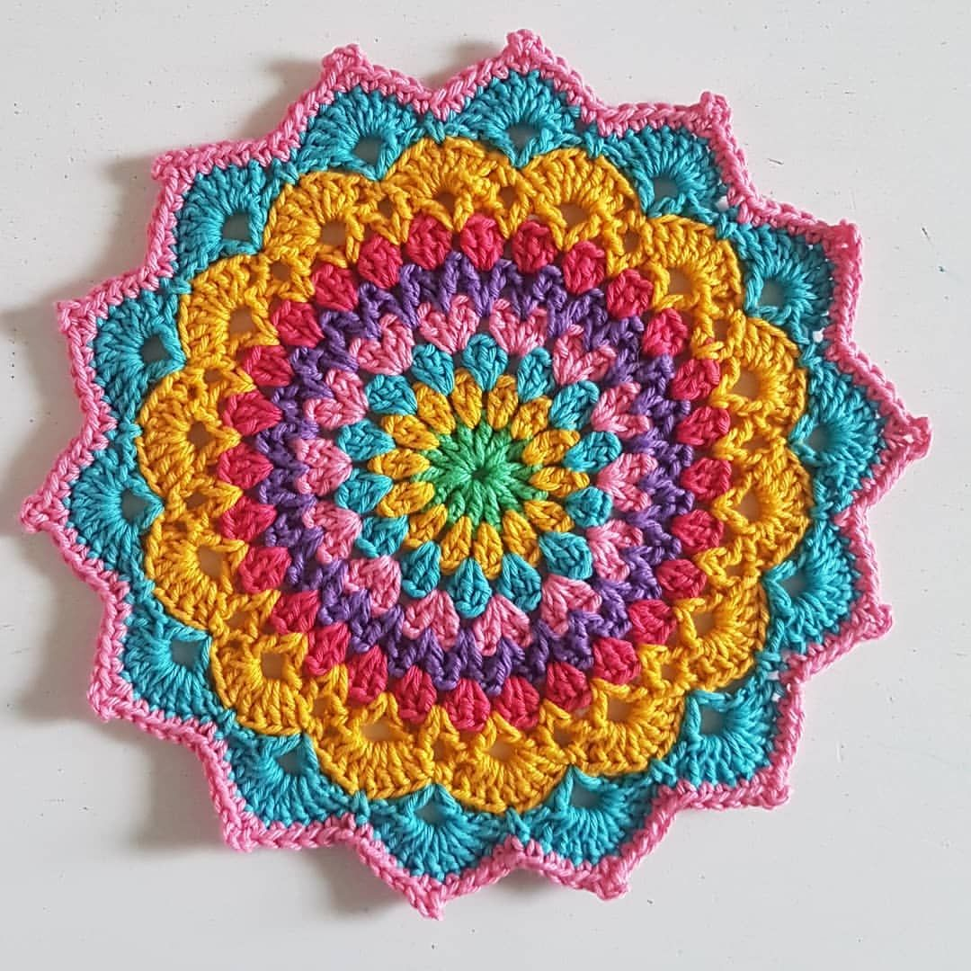 Mandala number 20, Magnolia Mandala from the Crochet Millan blog (@crochet_millan). I've made this pattern a couple of times before, and… #crochetmandalapattern