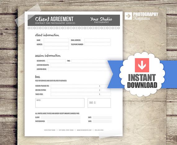 Photography Business Forms - Client Agreement Contract Form for - reservation forms in pdf