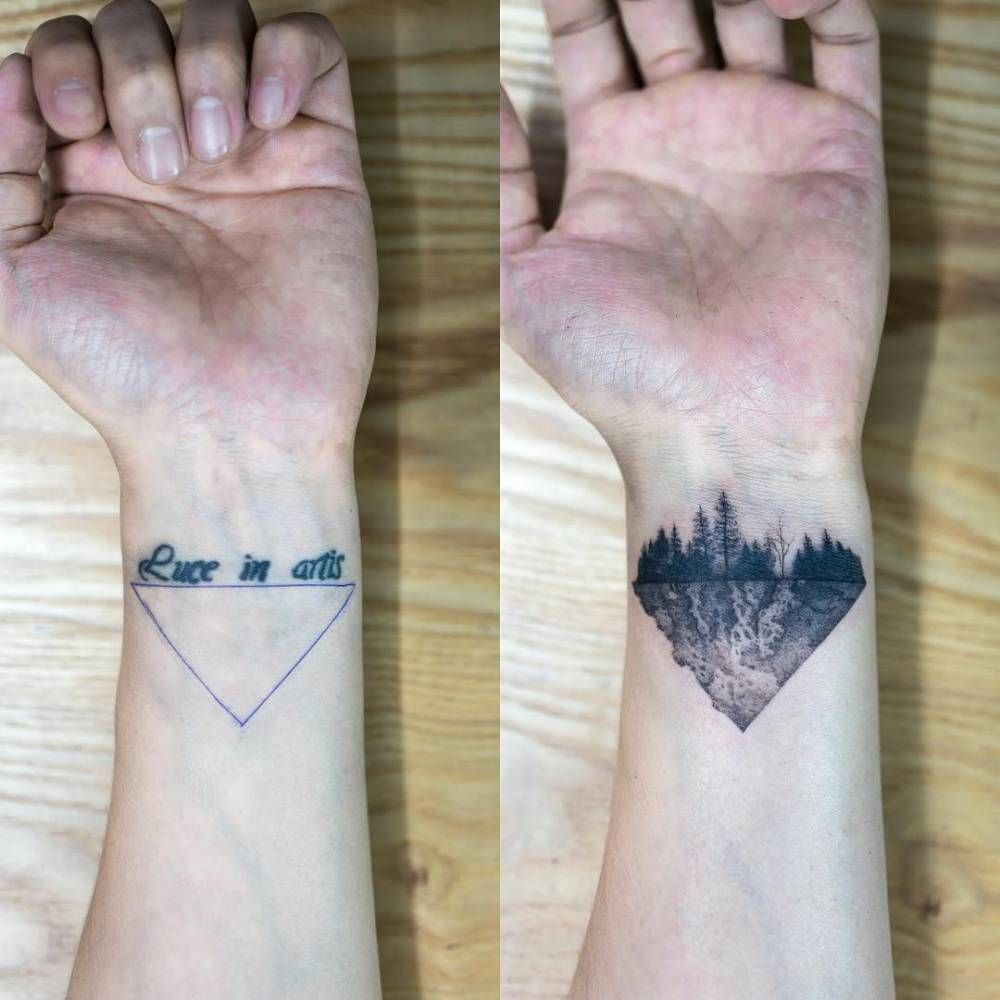 Forest cover tattoo on the inner wrist tattoo artist