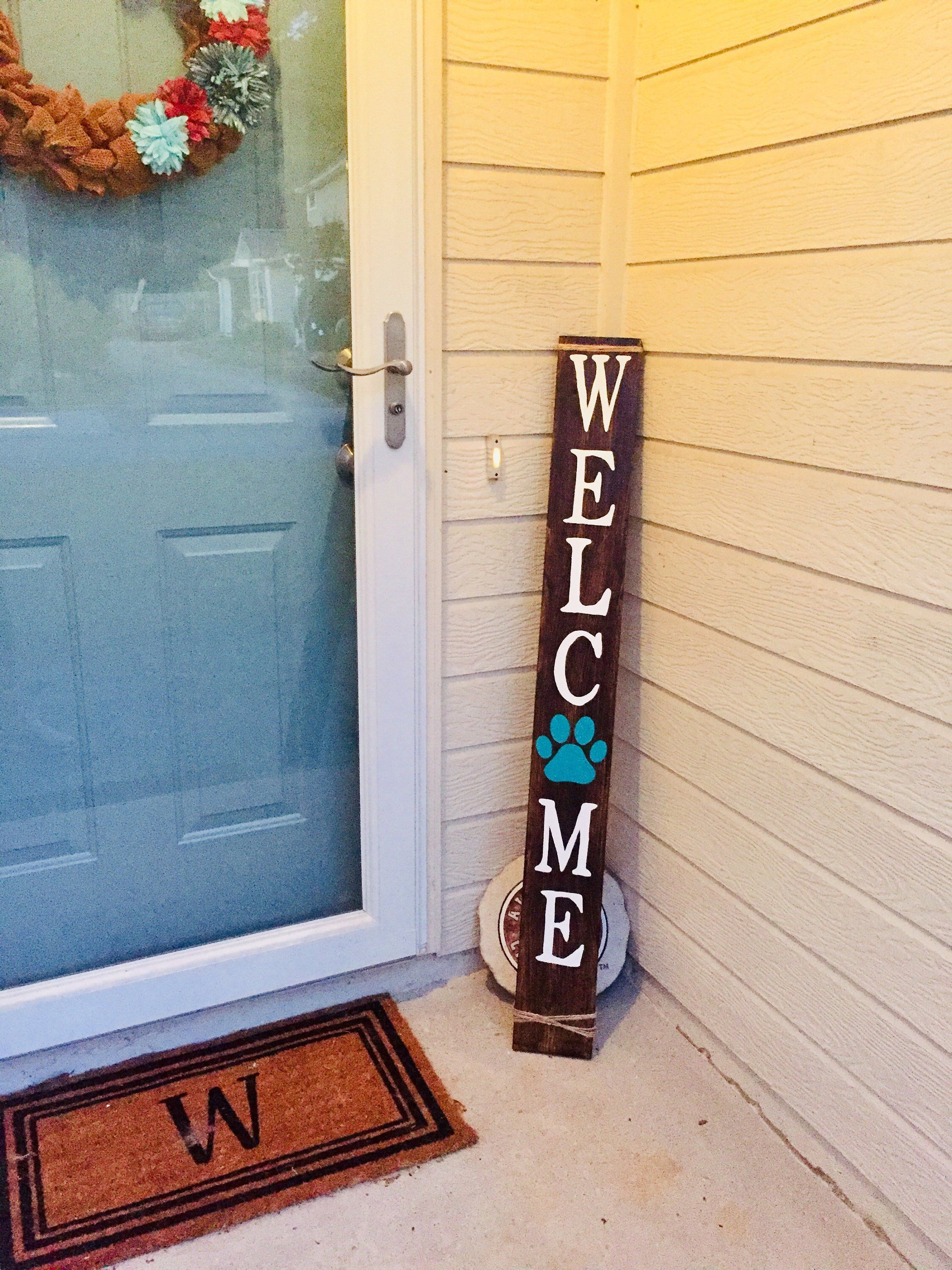 Excited To Share This Item From My Etsy Shop Welcome Front Porch Sign Welcom Sign Welcome Paw Print Welcome Signs Front Door Front Porch Signs Porch Signs