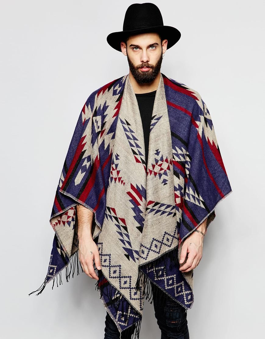 Image 1 Of Gregory U0026 39 S Festival Cape With Aztec Pattern In Blue