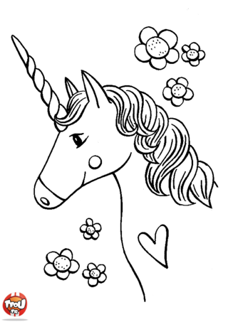 coloriage la licorne du coeur silhouette files pinterest coloriage licorne et. Black Bedroom Furniture Sets. Home Design Ideas
