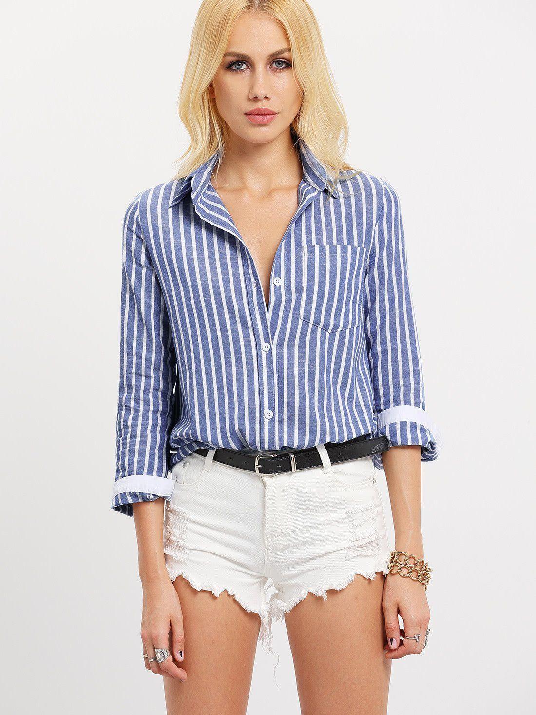 4563faf078d chemisier avec collet à rayure verticale avec poches - bleu blanc-French  Romwe