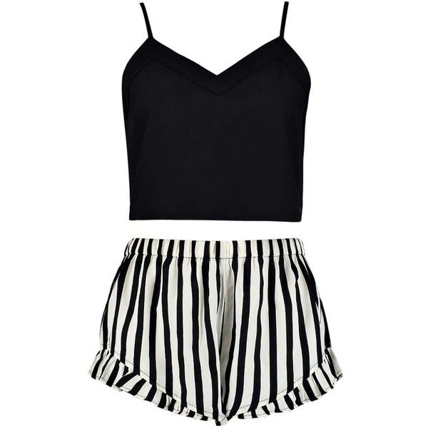Bryony Black Cami Stripe Ruffle Shorts Set (53 BRL) ❤ liked on Polyvore featuring intimates, pajamas, striped cami and ruffle cami