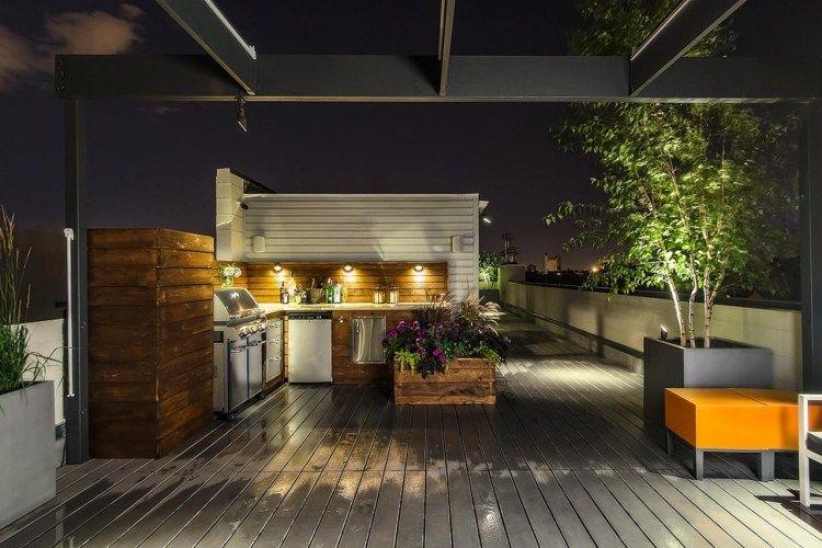 Aménagement De Jardin Et Terrasse Avec Une Petite Cuisine Extérieure