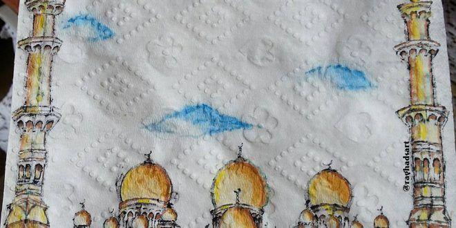 مسجد الشيخ زايد في الامارات رسم على منديل ورقي طفرة جوز