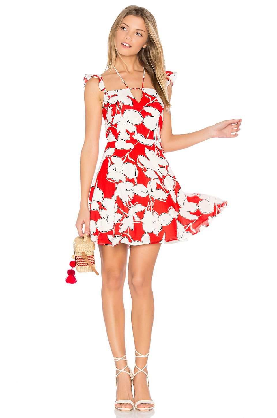 Joa flower print dress with ruffle shoulder in red multi