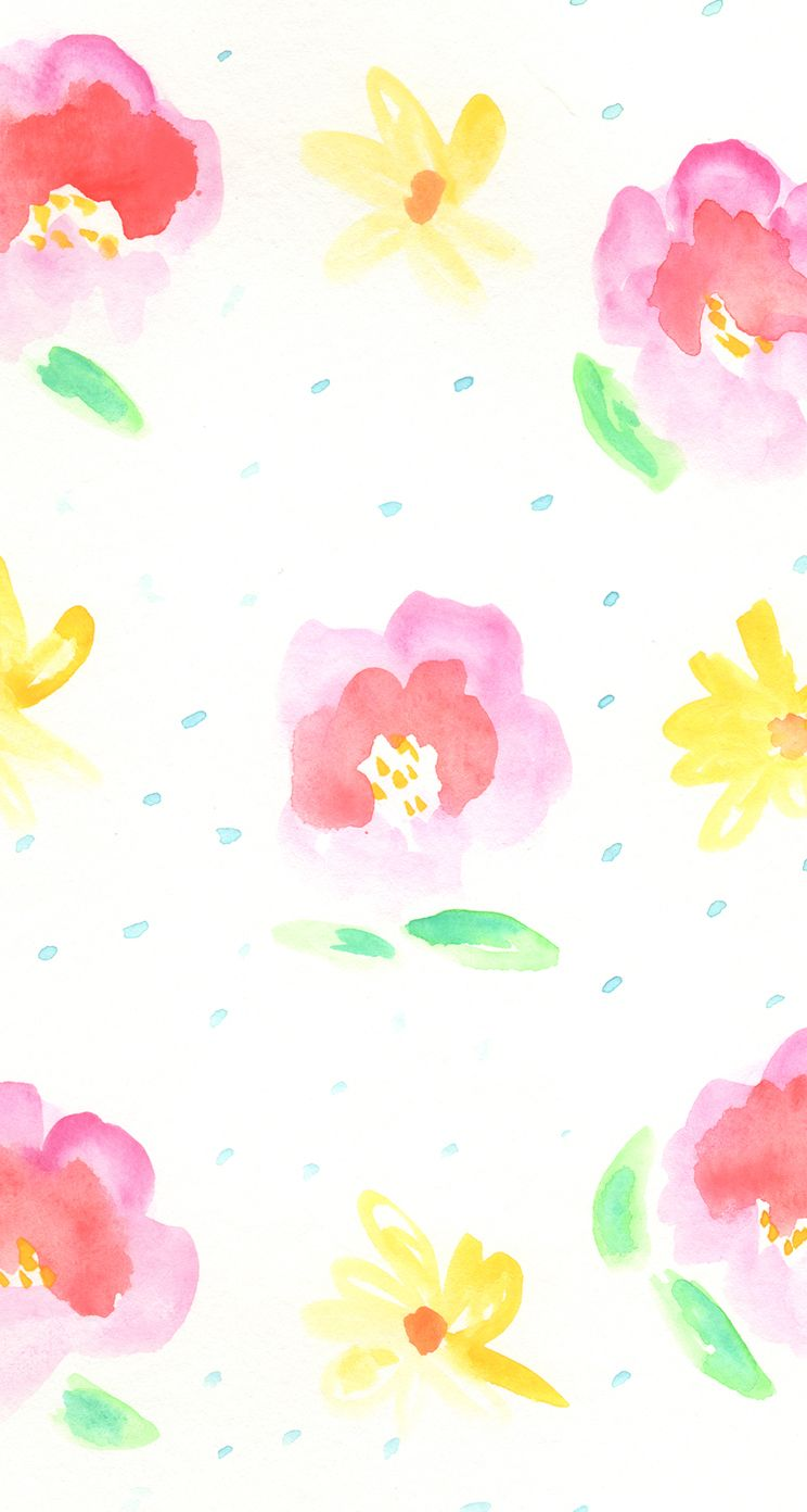 Bright Pretty Watercolour Floral Pink Yellow Iphone Wallpaper Phone Background Lock Watercolor Pattern Background Flower Wallpaper Watercolor Pattern