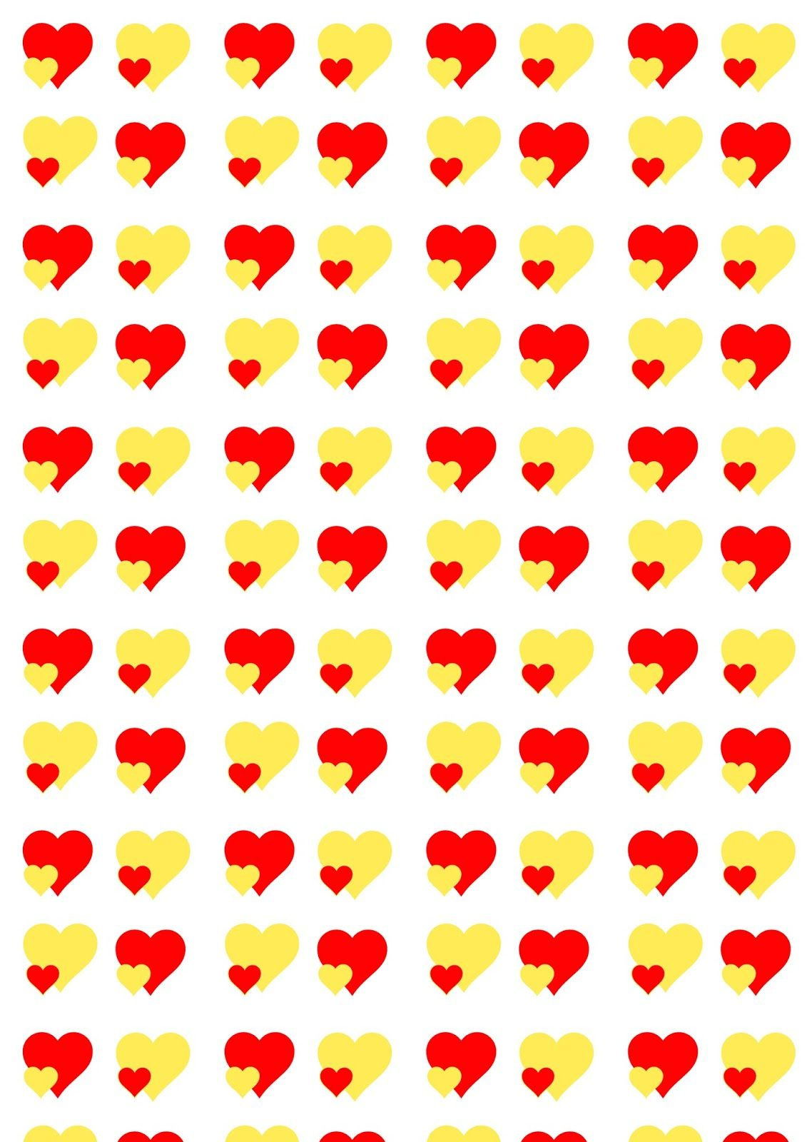 free printable heart pattern paper valentines yellow red
